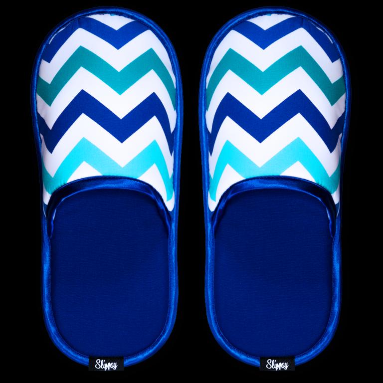 modro bílé pantofle