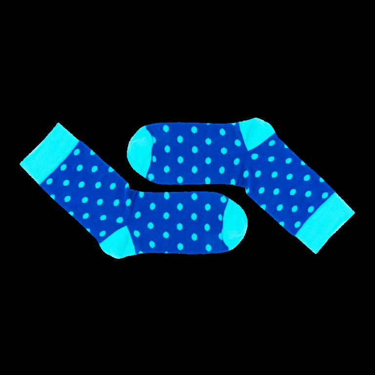 Modré ponožky s tyrkysovými puntíky