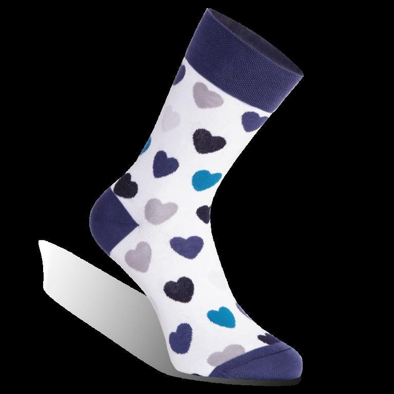 ponožky s modrými srdíčky